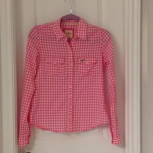 Hollister Ginghnam Pink Shirt Small
